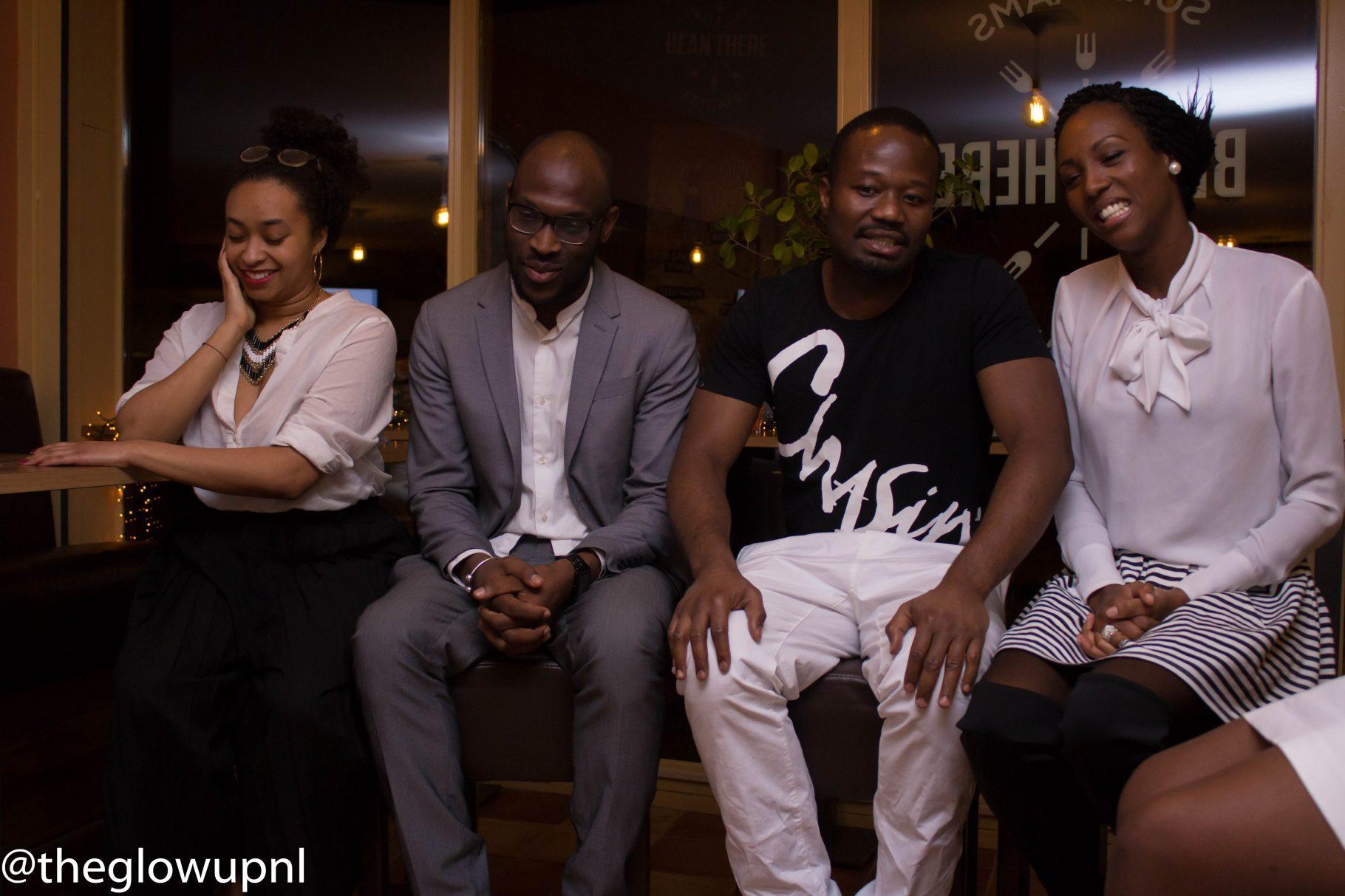 Panel over liefde en samenwerken v.l.n.r. Jessica, Mitchell, Jerry en Danitia